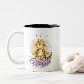 Yoga Cat Two-Tone Coffee Mug