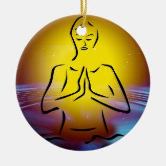 Yoga colorful illustration christmas ornament