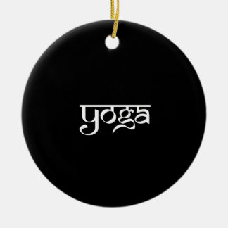 Yoga Design on Sanskrit Style Round Ceramic Decoration