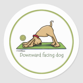 Yoga - Downward Facing Dog Round Sticker