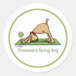 Yoga - Downward Facing Dog Round Stickers