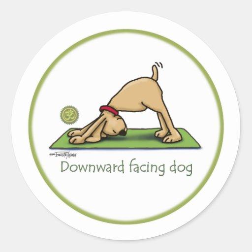 Yoga - Downward Facing Dog Round Sticker