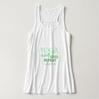 YOGA eat sleep repeat arrow green leaves tank top