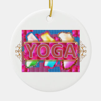 YOGA Enchanting Energy Print Round Ceramic Decoration
