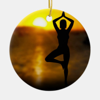Yoga Female by the Ocean at Sunset Ornament