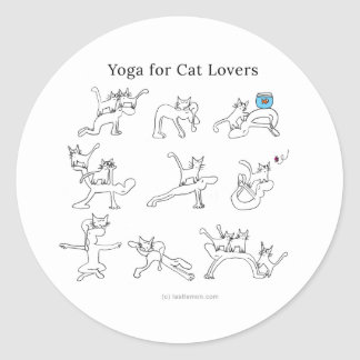 Yoga for cat lovers round sticker
