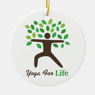 Yoga For Life, Warrior Pose, Tree Ceramic Ornament