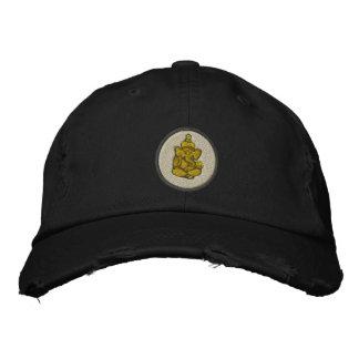 Yoga Ganesh Embroidered Dark Cap Embroidered Hat
