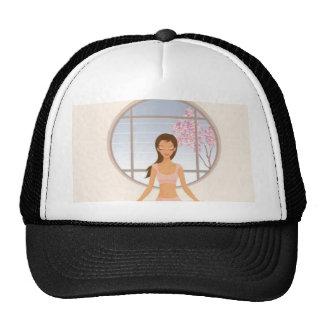 Yoga girl meditating hat