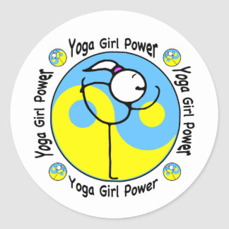Yoga Girl Power Logo Classic Round Sticker