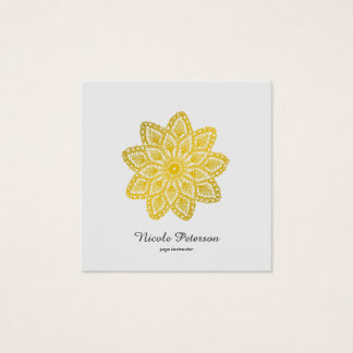 Yoga - Gold Lace Square Business Card