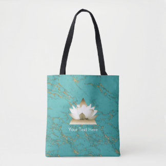 Yoga Gold Lotus Modern Turquoise & Gold Marble Tote Bag