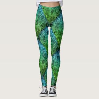 Yoga Green & Blue Leaves Abstract Leggings