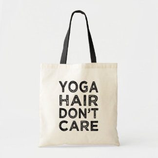 Yoga hair don't care funny tote bag