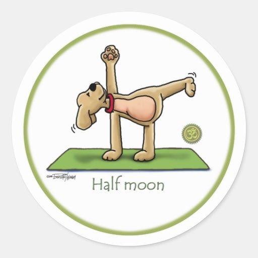 Yoga - Half Moon Round Stickers