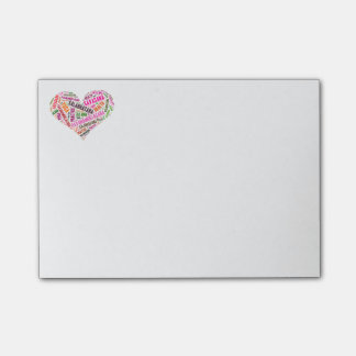 Yoga heart shape words design post-it notes