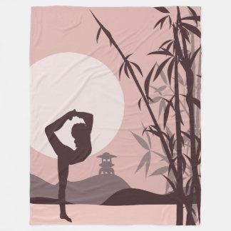 Yoga in Pink Fleece Blanket