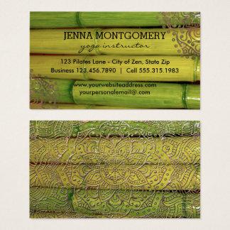 Yoga Instructor Asian Bamboo | Gold Mandalas Boho Business Card