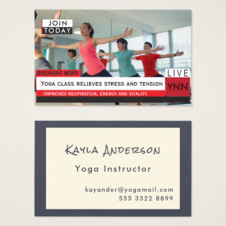 Yoga Instructor Fake News Graphic Photo Template Business Card