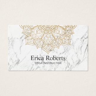 Yoga Instructor Gold Lotus Mandala White Marble Business Card