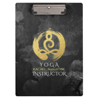 Yoga Instructor Gold Meditation Posture Zen Symbol Clipboard