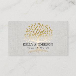 Yoga instructor business cards zazzle au yoga instructor gold tree elegant linen business card reheart Images