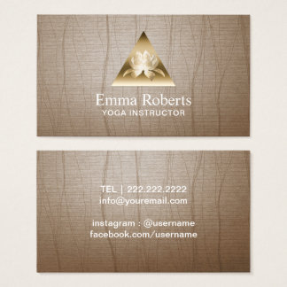 Yoga Instructor Gold Triangle Lotus Logo Vintage Business Card