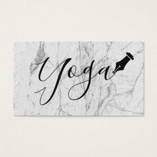 Yoga instructor Handwritten Script White Marble Business Card