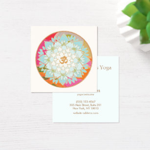 Yoga instructor business cards business card printing zazzle yoga instructor lotus flower and om symbol square business card colourmoves