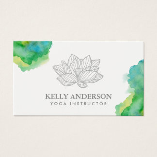 Yoga Instructor Lotus Flower Watercolor Business Card
