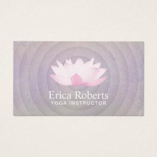 Yoga Instructor Lotus Logo Spiral Purple Business Card