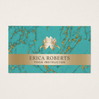 Yoga Instructor Lotus Logo Trendy Teal & Gold Business Card
