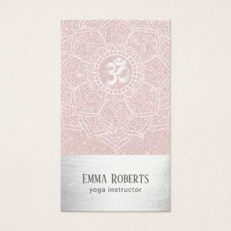 Yoga Instructor Lotus Mandala Blush Pink & Silver Business Card