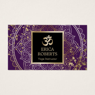 Yoga Instructor Mandala Modern Gold & Purple Business Card