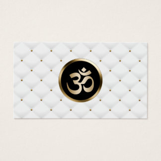 Yoga Instructor Modern Gold & White Quilts Business Card