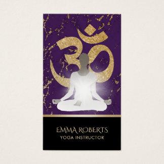 Yoga Instructor Namaste Modern Purple & Gold Business Card