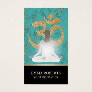 Yoga Instructor Namaste Turquoise & Gold Business Card