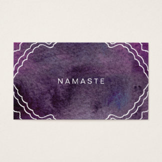 Yoga Instructor Purple Watercolor Namaste Business Card