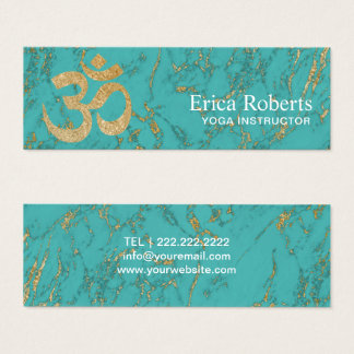 Yoga Instructor Vintage Gold Om Trendy Turquoise Mini Business Card