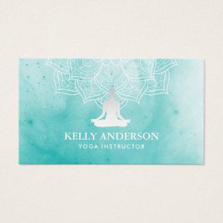 Yoga Instructor Watercolor Lotus Mandala Namaste Business Card
