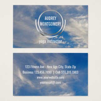 Yoga Instructor Zen | Blue Sky Clouds Relax Business Card