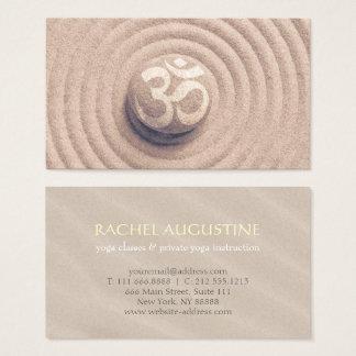 YOGA Instructor Zen OM symbol Pebble on Raked Sand Business Card