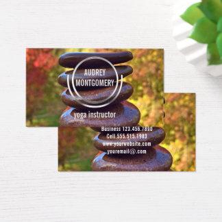 Yoga Instructor Zen Stones Autumn Leaves Business Card