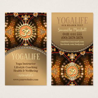 Yoga Life Caramel Gold OM New Age Business Card