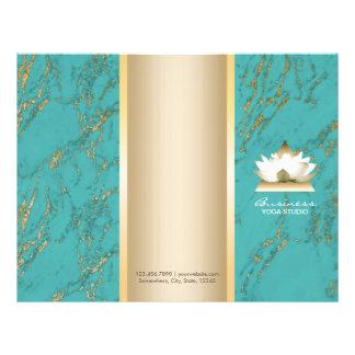 Yoga Lotus Logo Gold & Tirqipose Marble Tri-Fold Flyer
