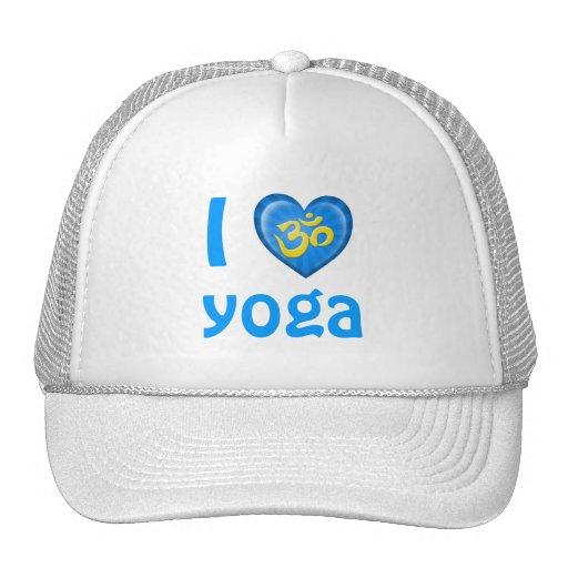 Yoga Love Heart Om Blue and Yellow Hat