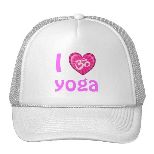 Yoga Love Heart Om Pink Trucker Hats