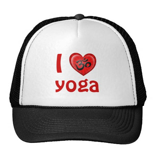 Yoga Love Heart Om Red and Black Hats