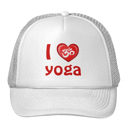 Yoga Love Heart Om Red and White Trucker Hats