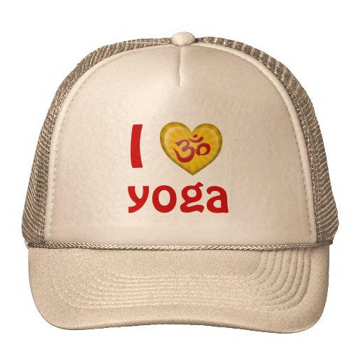 Yoga Love Heart Om Red and Yellow Trucker Hat